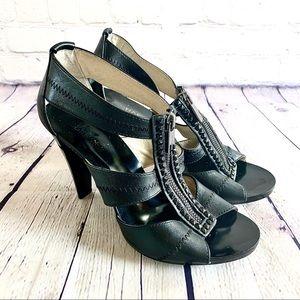Michael Kors Zip Up Black Leather Heels Size 8